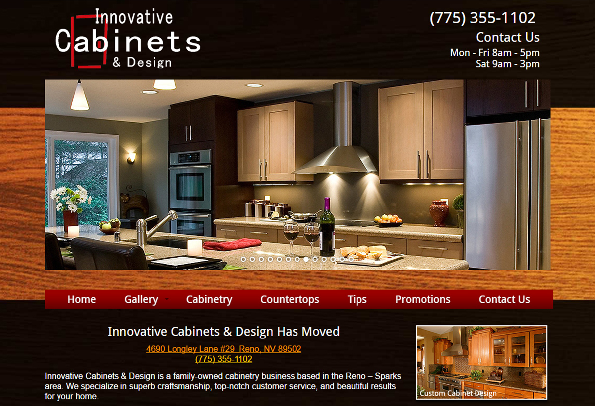 Innovative cabinets design new website reno web design for Innovative cabinet design