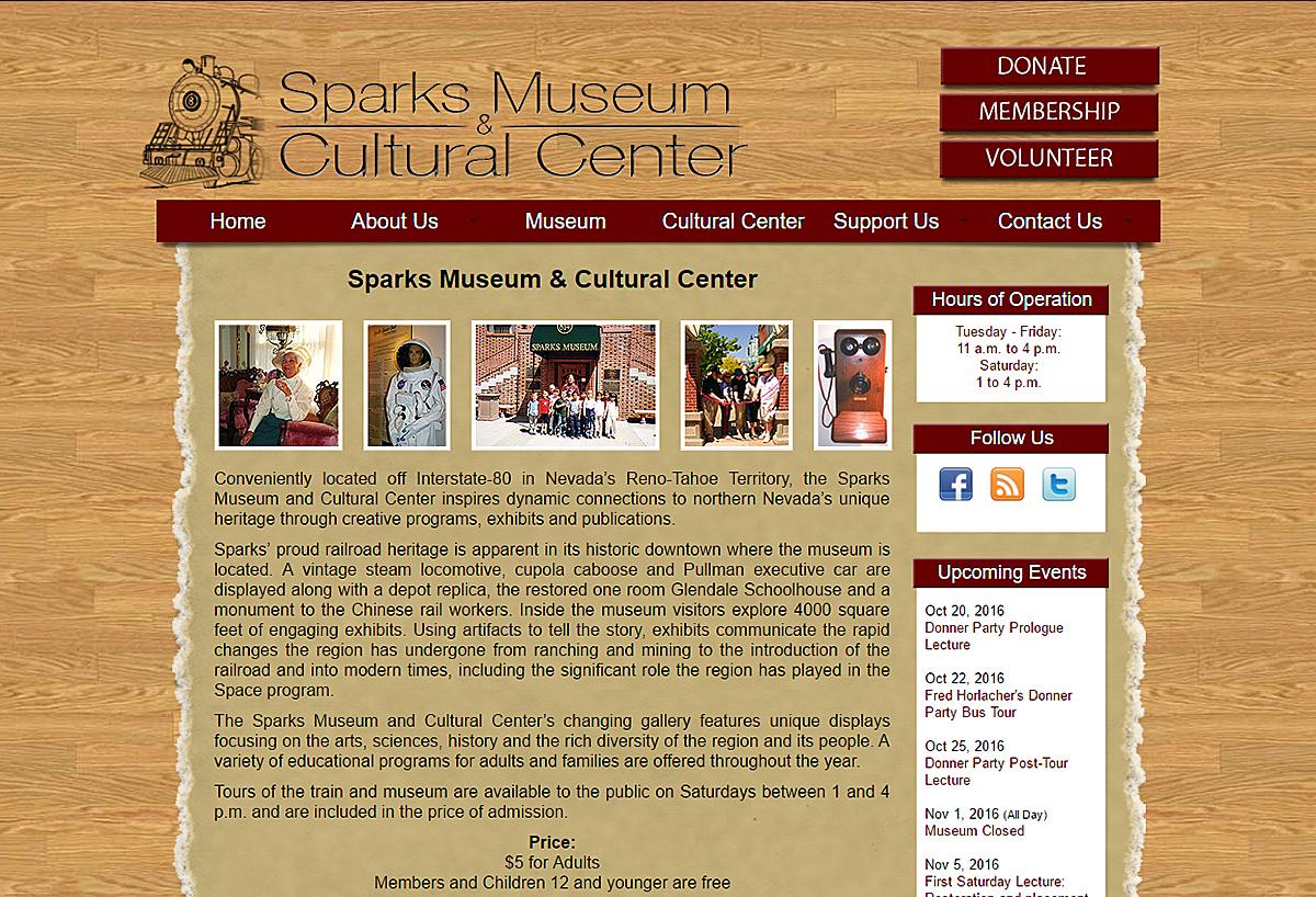 New Custom Website - Sparks Museum & Cultural Center