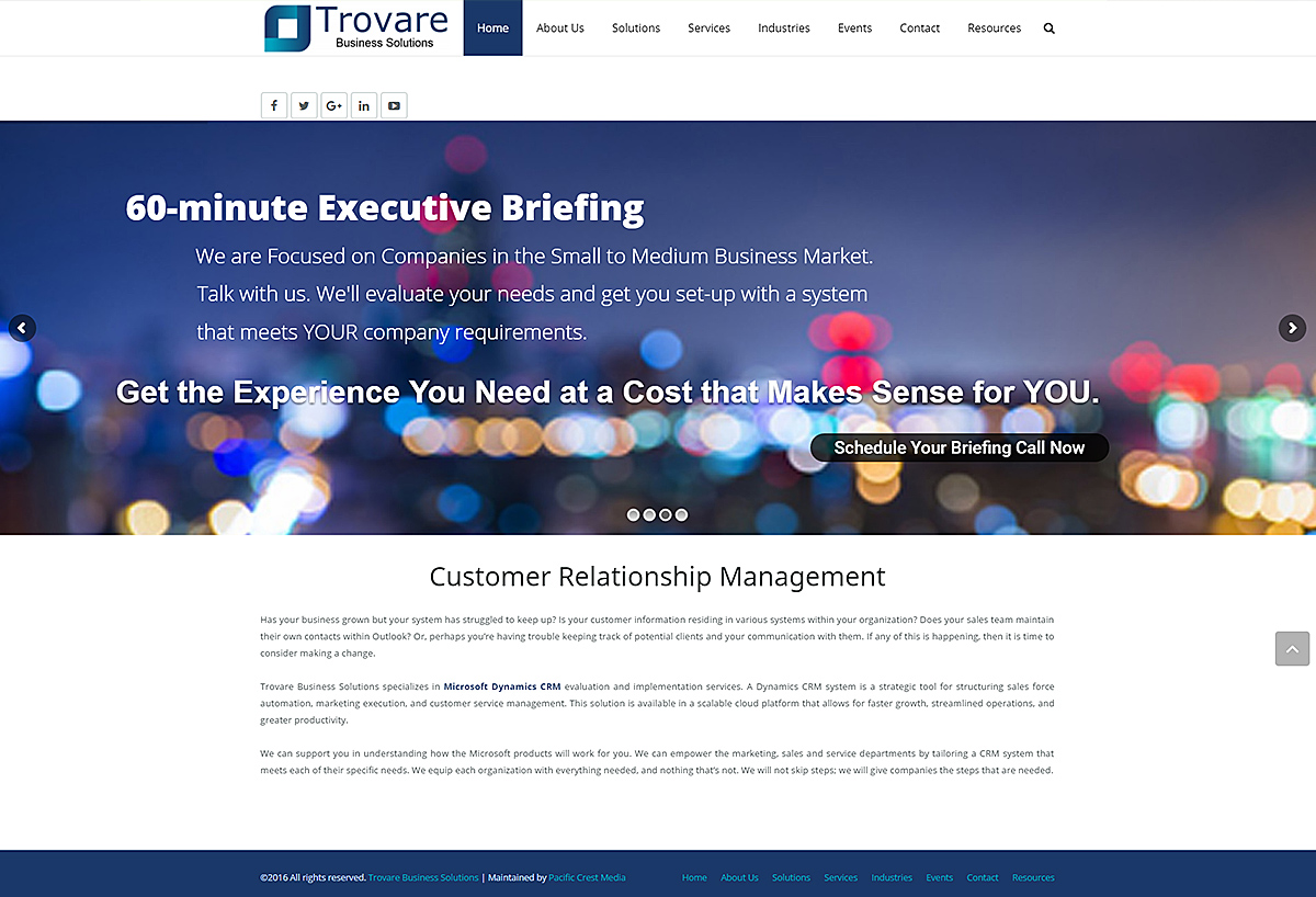 New Mobile Web Design - Trovare Business Solutions